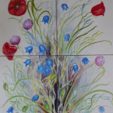 """""""English Wildflower Tiles"""" Hand Painted Tiles"""