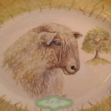Close Detail of Longwool Sheep. Large Oval Serving Plate