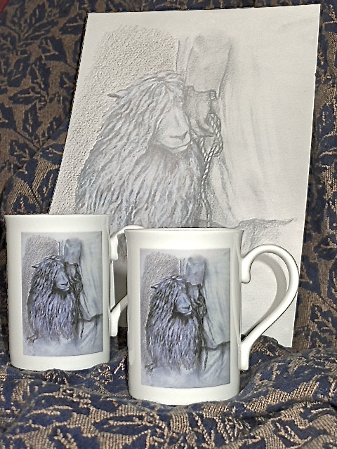Printed Mugs taken from a Commissioned Drawing. £7.99 Each Mug.