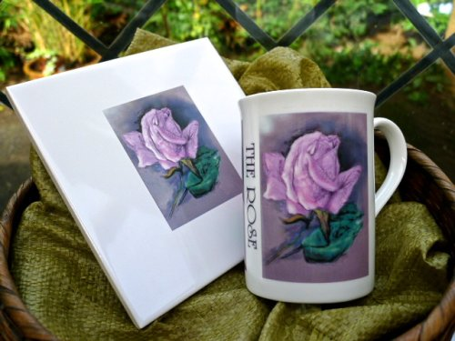 "English Garden Flowers Fine Bone China ""The Rose"" Tiles £14.99. Mugs £7.99 (Printed). £19.99 for them both."