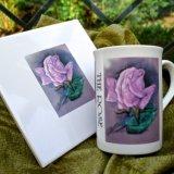 "English Garden Flowers Fine Bone China ""The Rose"" Tiles £14.99. Mugs £7.99 (Printed)."