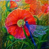 "Hand Painted Tile ""Poppy & Damselfly"""