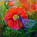 "Hand Painted Tile ""Poppy & Damselfly"""
