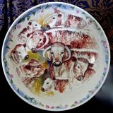 Large hand Painted Longhorn Cattle  Bowl