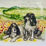 Portrait of Dogs in Landscape. Portrait Promotion. 6inch square Tile Portraits. Normal Price £49.99. Special Extended Price for 2016 Price £39.99.