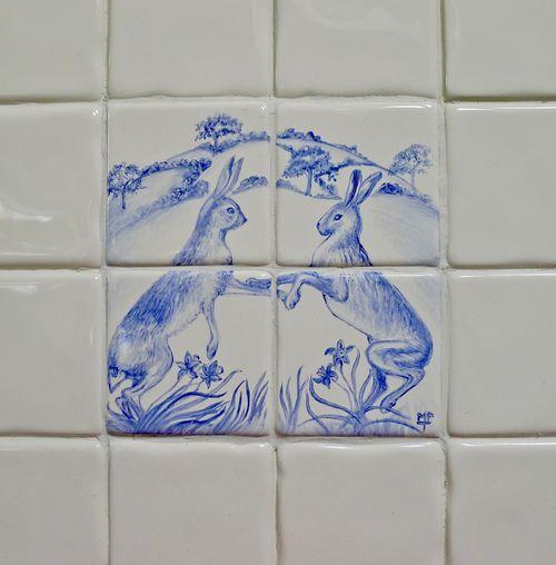 Boxing Hares Tile Splashback