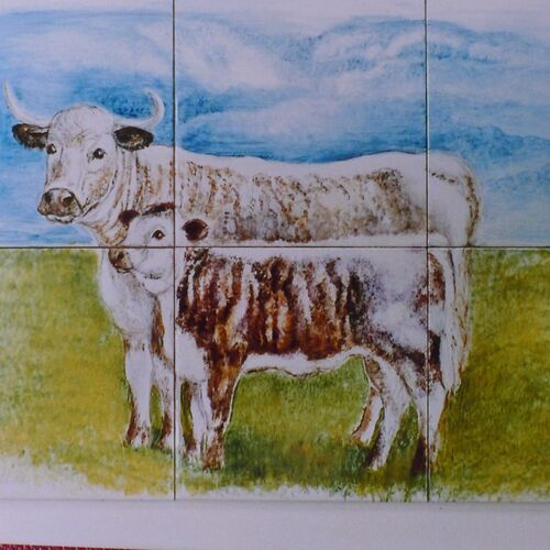 Longhorn Cattle Hand Painted Tiles unique to customer.