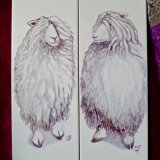"""Ceramic Painted Tiles """"Mr&Mrs Lincoln""""a.k.a.""""The Longwools"""""""