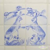 Detail of Boxing Hares (each tile £20. Picture of four tiles £80.)