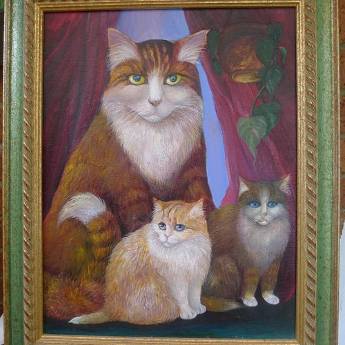 Cats in Art. Oil painting of Cat with kittens.
