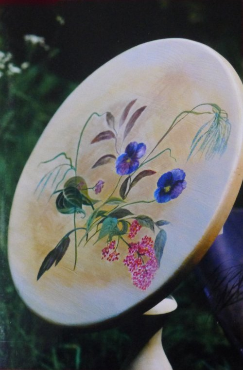 Tilt Top Table decorated with hand painted flowers