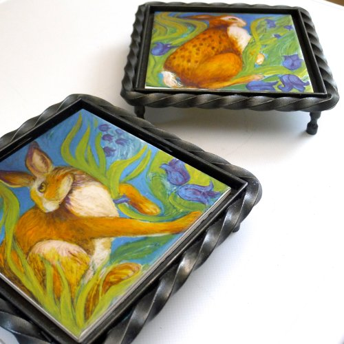 """Hare Belles"" Printed Tile set in Wrought Iron. ""Hare Belles"" tiles for sale on: TheTaylorTrilogy.co.uk"