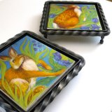 """""""Hare Belles"""" Printed Tile set in Wrought Iron. """"Hare Belles"""" tiles for sale on: TheTaylorTrilogy.co.uk"""