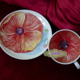 View 2 of Unique Hand Painted Cup & Saucer.