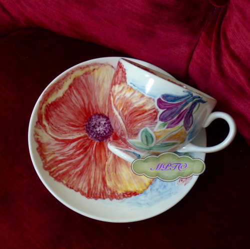 "A ""One Off"" Hand Painted Teacup & Saucer £35.00"