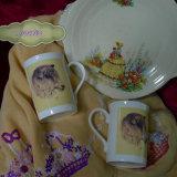 Vintage Plate, Grandma's Embroidery & Longwool Mugs
