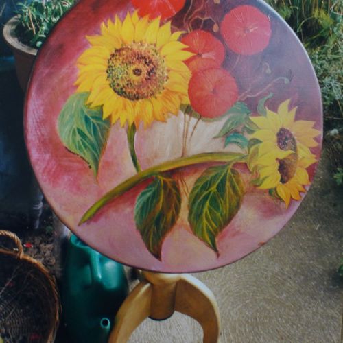 Sunflowers Hand Painted onto Tilt Top Table
