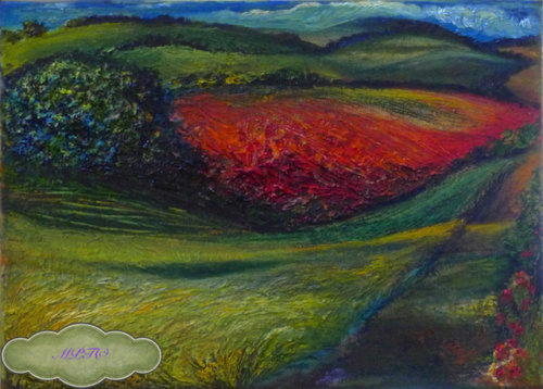The Poppy Field (small detail from oil painting)