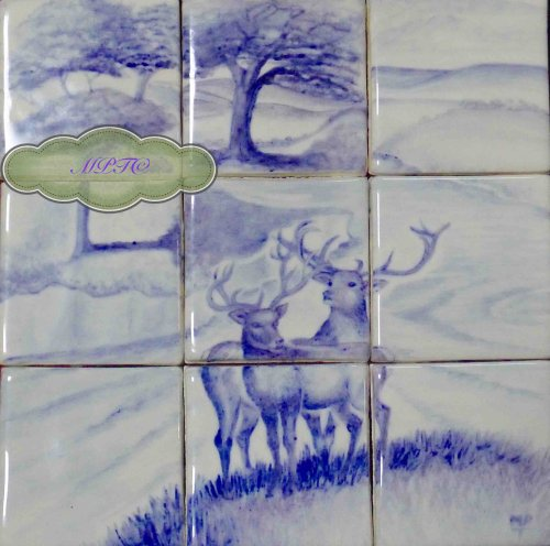 """Two Stags"" Hand Painted Tile Splashback.  Sale Now On The Margaret Taylor Collection.co.uk"
