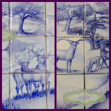 """(Left)""""Two Stags."""" In the Sale. Normal Price £165.00 Sale Price £135.00 Nine approx 4 inch Tiles. (Right) """"The Stag 1."""""""
