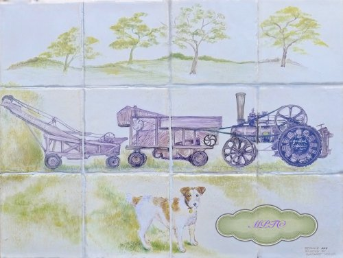 """Dog &Threshing Machine"" Reduced Price on E-commerce site TheTaylorTrilogy.co.uk. Page section "" Gallery 2A Art for Sale"" Link to e-commerce website at top of each Gallery"