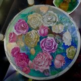 Hand Painted Roses On Wooden Chair