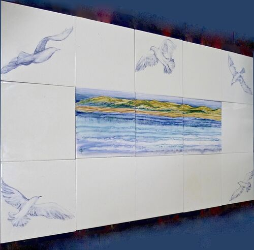 "New Hand Painted Splashback ""Seagulls"" For Sale on E-commerce site ""The Margaret Taylor Collection"""