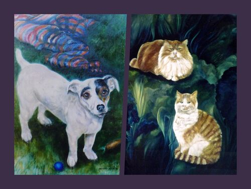 Oil Paintings of Dogs and Cats