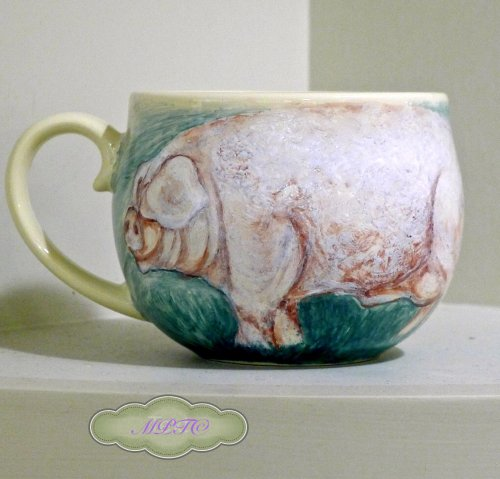 Lincolnshire Curley Coated Pig - Hand Painted Mug