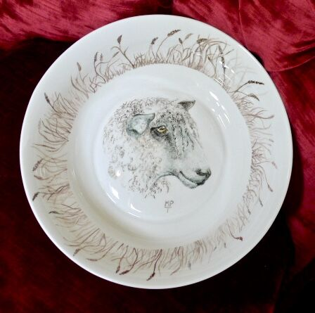 Longwool Sheep painted onto fine bone china