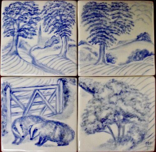 """Badgers four Tile Splashback. For Sale on """"The Margaret Taylor Collection"""""""