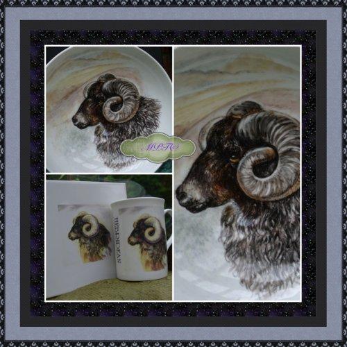Hebridean Hand Painted Bowl. Limited Edition Printed Design on Tile & Mug (Bottom Left)