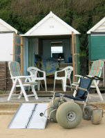 Our Accessible Beach Hut with Beach Wheelchair