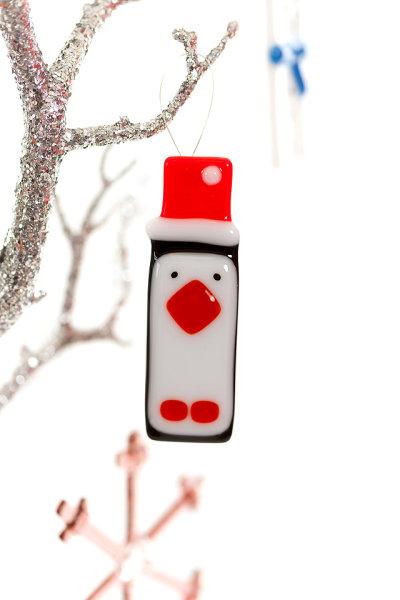 Penguin fused glass Christmas decoration