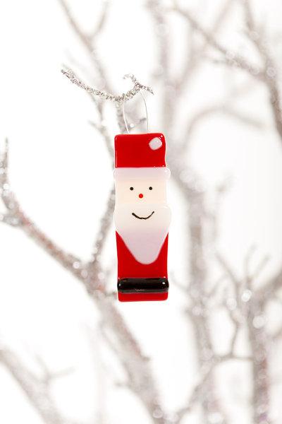 Santa fused glass Christmas decoration