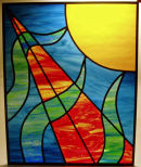 Stained glass panel by Carys Woodley.