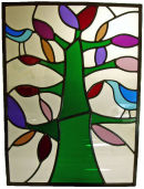 Stained glass panel by Duncan Marshal.