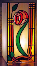 Tiffany stained glass box lamp by Peter Morrell