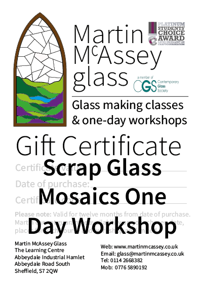 Scrap Glass Mosaics One Day Workshop Gift Certificate