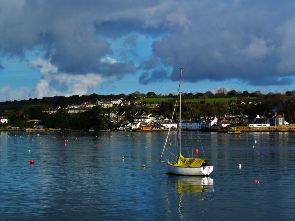 Lone boat in Falmouth Harbour