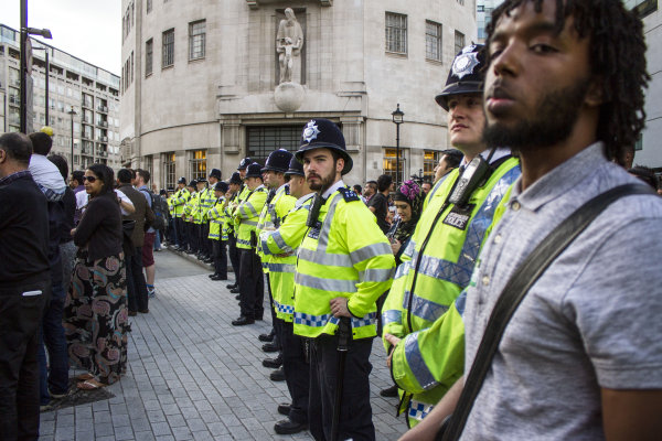 Police at BBC Demonstration