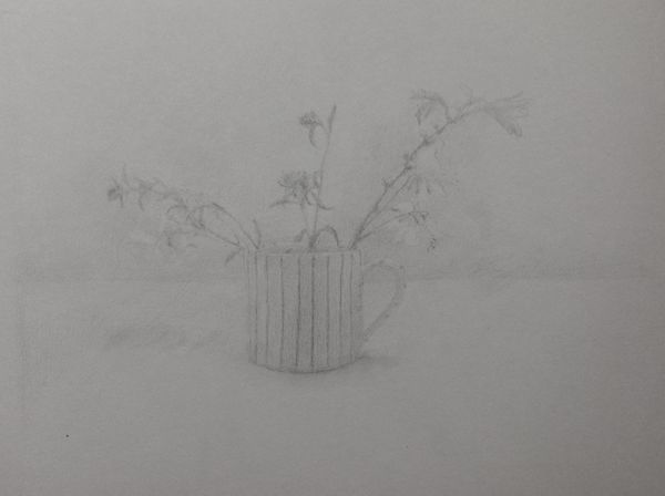 Garden Flowers in a Striped Jug 2
