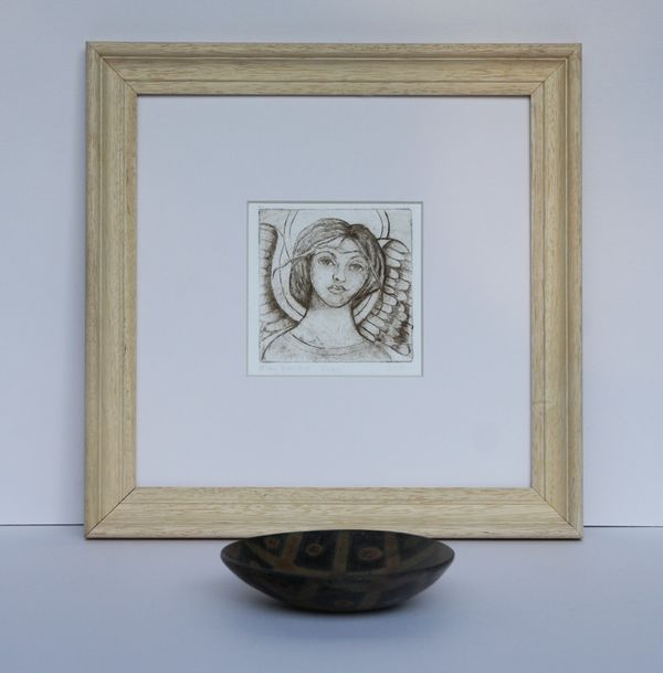 'Angel' Framed Etching (sepia)