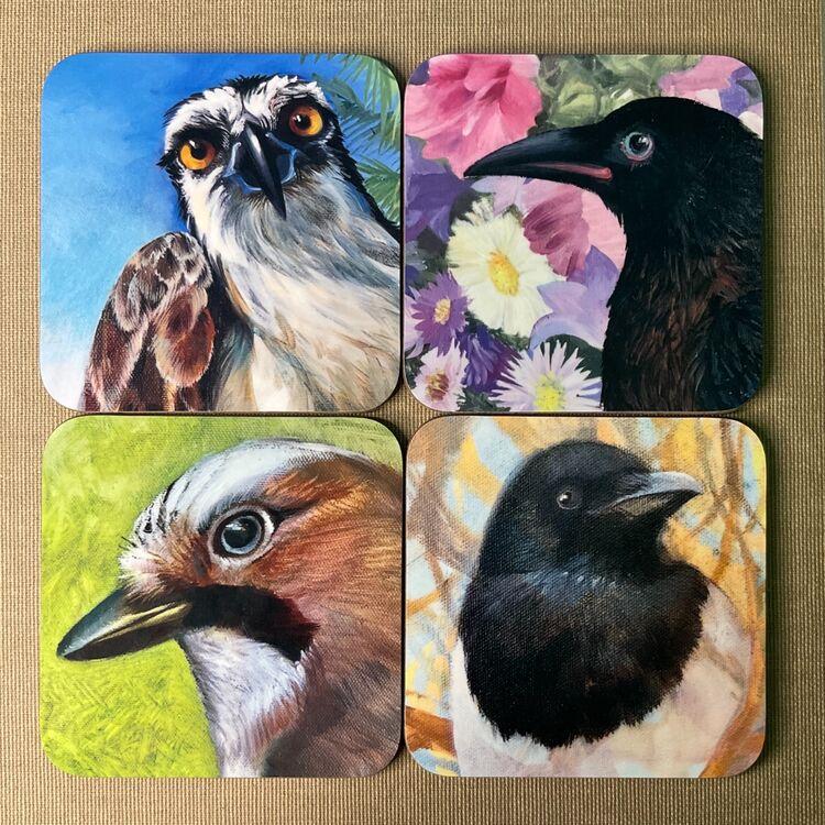 4 Bird coasters set