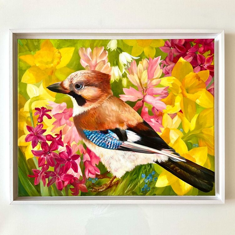 Spring Jay, oil on canvas 40x50 cm, white tray frame