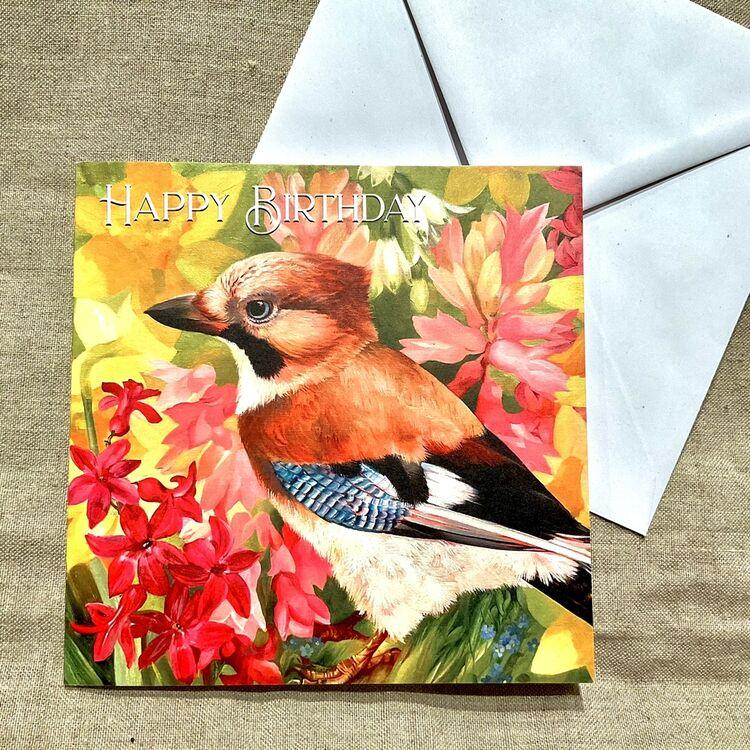 Jay bird card happy birthday card, jay in spring flowers, pink hyacinths and daffodils