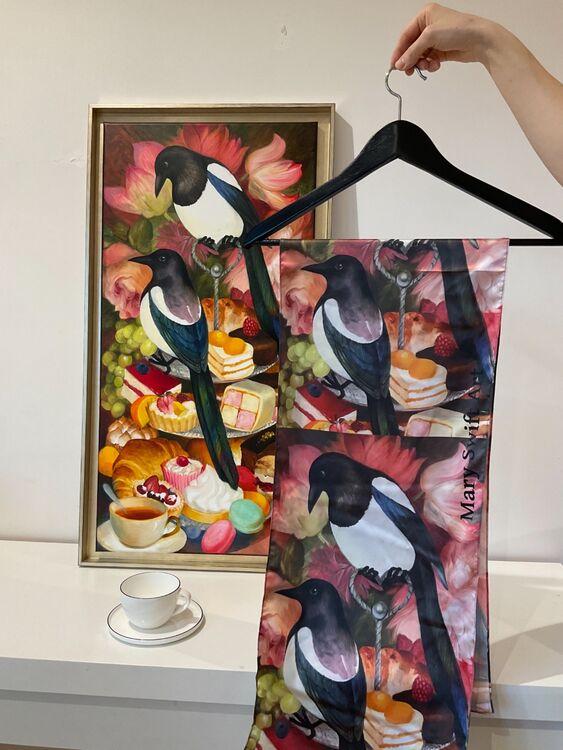 Scarf Magpie's high tea, 30x135 cm