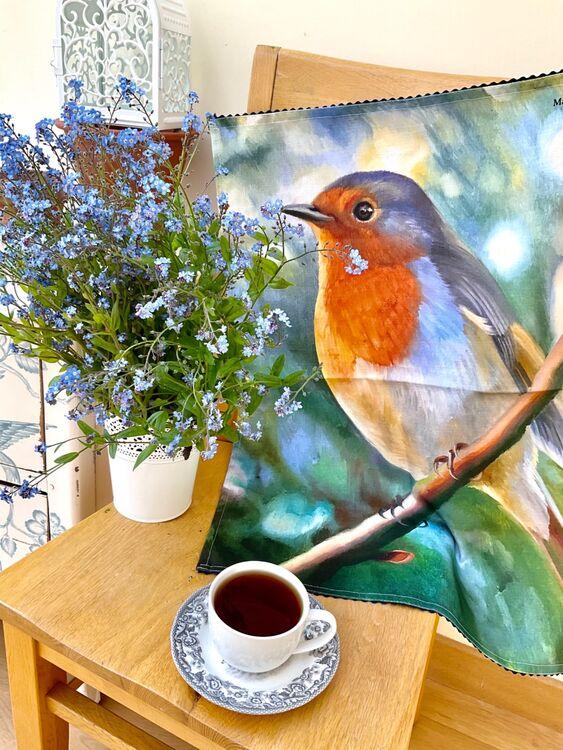 Tea towel garden bird robin