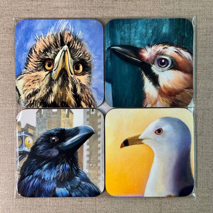 Blue bird coasters set