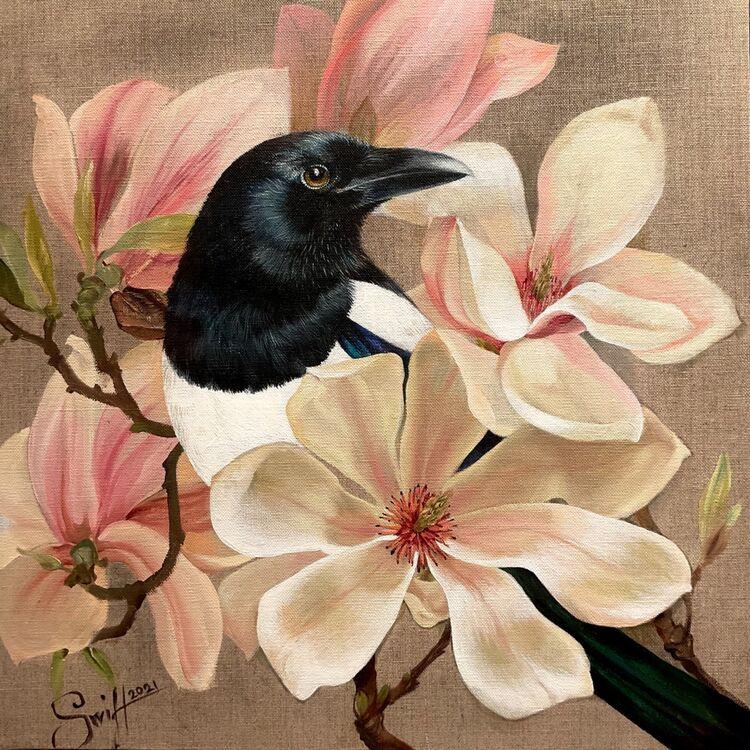 Magpie in magnolias oil painting